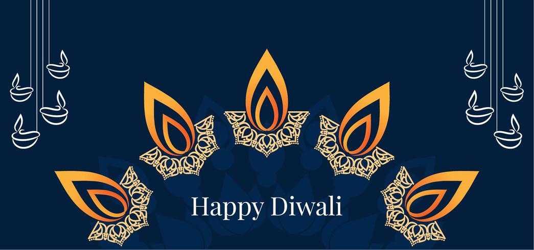 Happy Diwali design de lampe décorative vecteur