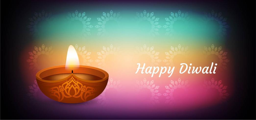 Joyeux Diwali élégant design coloré vecteur