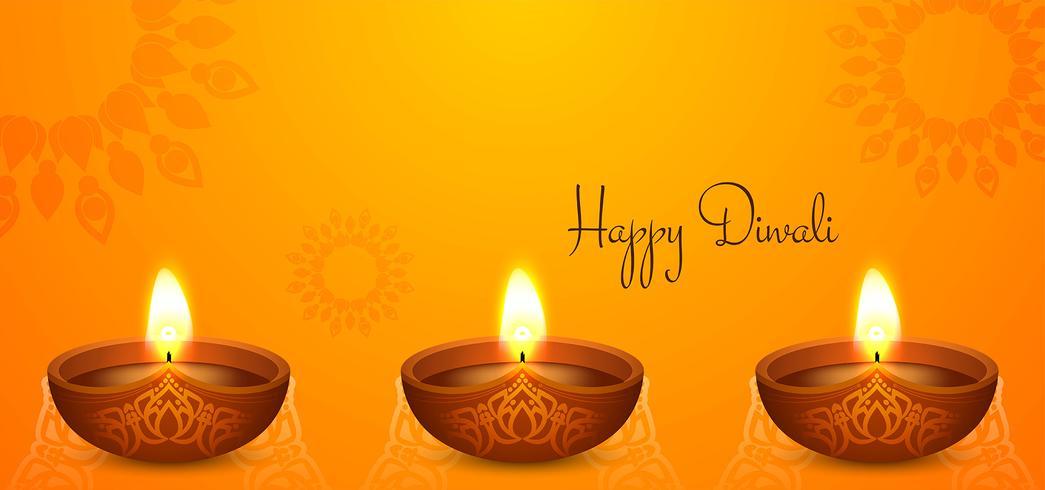 Joyeux Diwali avec diya vecteur
