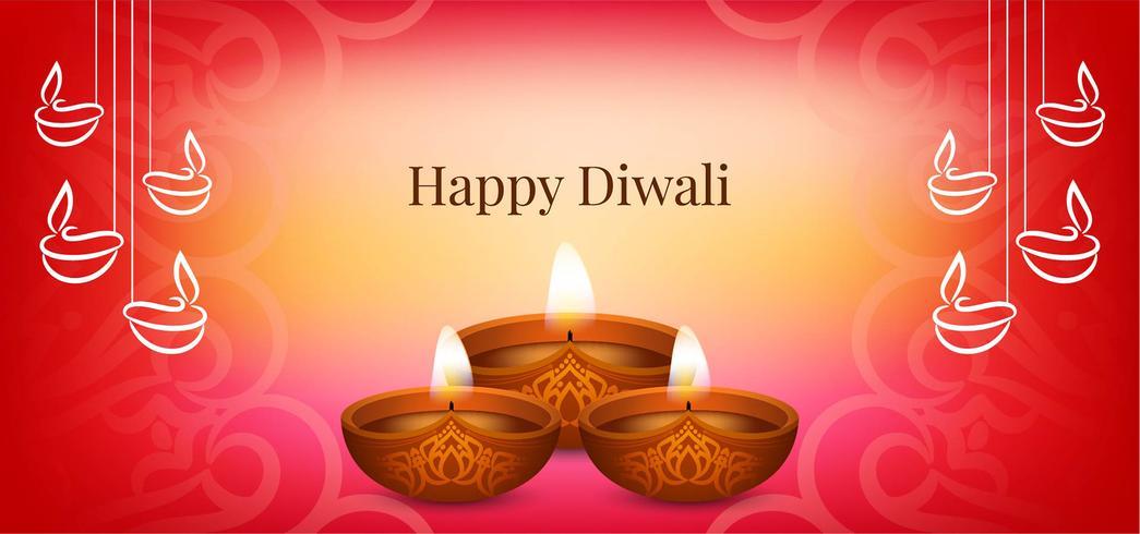 Joyeux design Diwali avec diya stylé vecteur