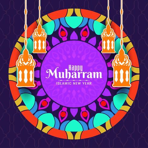 Carte de voeux islamique coloré Muharran heureux vecteur