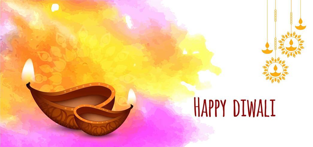 Joyeux Diwali, coup de pinceau coloré vecteur