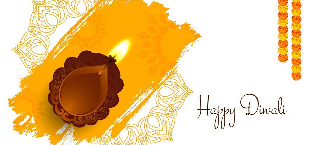 Joyeux Diwali design avec lampe vecteur
