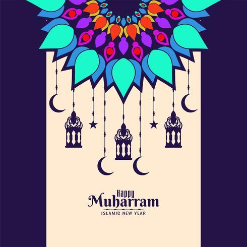 Heureuse carte Muharran avec mandala coloré et lanternes suspendues vecteur
