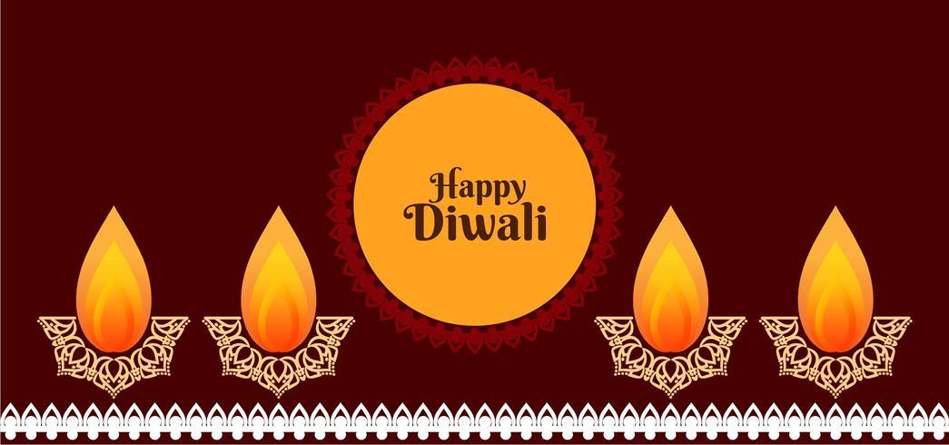 Joyeux design Diwali avec diya décoratif vecteur