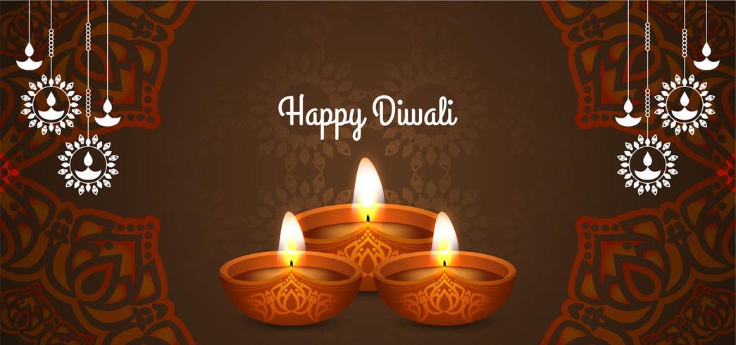 Joyeux Diwali couleur marron vecteur