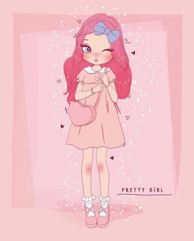 Main dessinée jolie fille vêtue d'une robe et sac à main coeur avec typographie vecteur