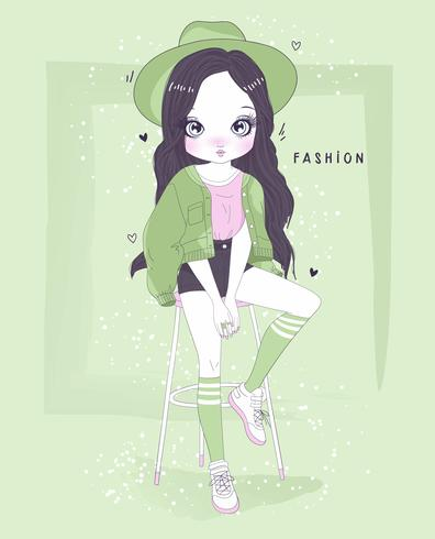 Main dessinée jolie fille vêtue d'une tenue verte avec la typographie vecteur