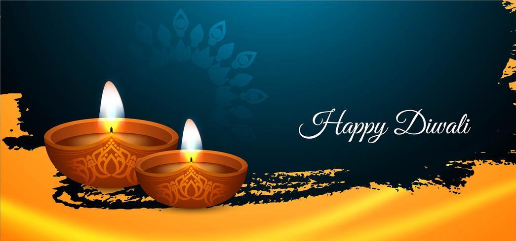 Joyeux Diwali bannière festive colorée vecteur