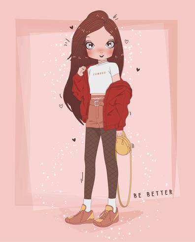 Main dessinée jolie fille portant une veste surdimensionnée avec la typographie vecteur