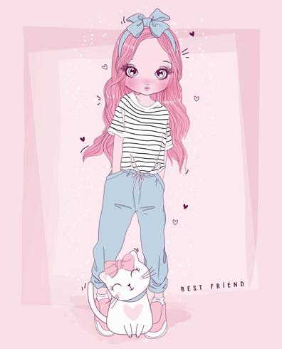 Main dessinée jolie fille et chat avec la typographie du meilleur ami vecteur