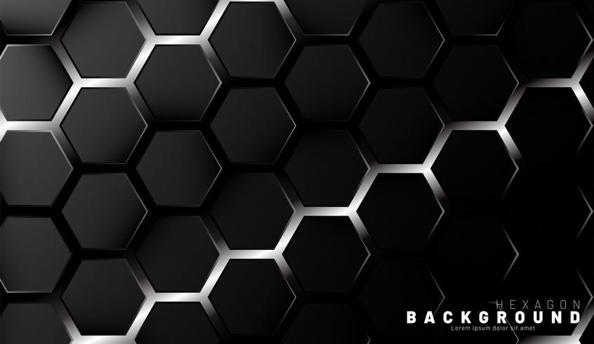 Motif abstrait d'hexagone noir vecteur