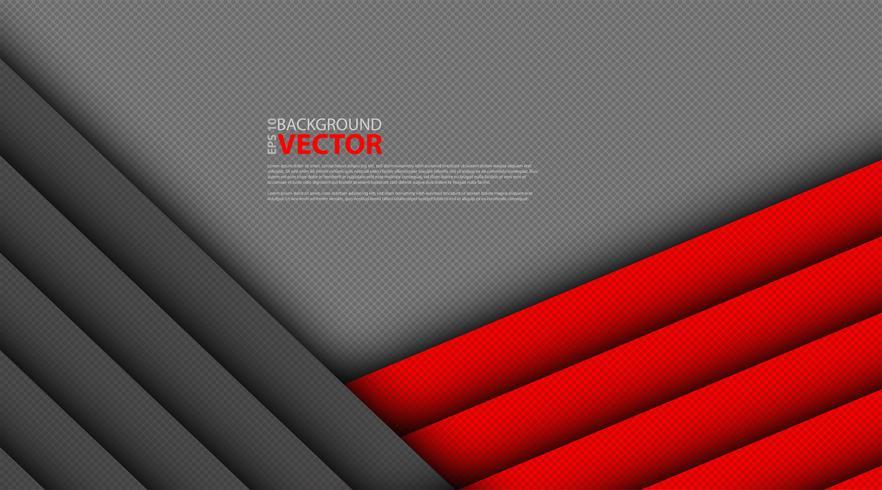 Abstrait triangle gris rouge sur un cercle de maillage sombre vecteur