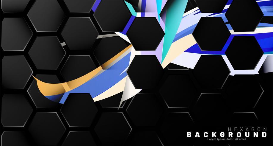 Modèle abstrait d'hexagone noir sur le style de brosse coloré vecteur