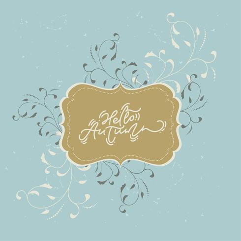 Bonjour lettrage de calligraphie d'automne vecteur