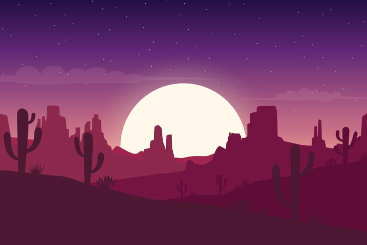 Paysage désertique de nuit avec fond de silhouettes cactus et collines vecteur