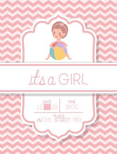 sa carte de douche de bébé une fille vecteur