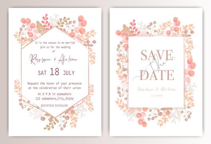 carte d'invitation de mariage avec floral coloré et feuilles. vecteur