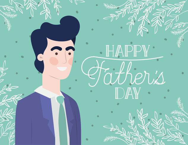carte de fête des pères heureux avec leafs vecteur