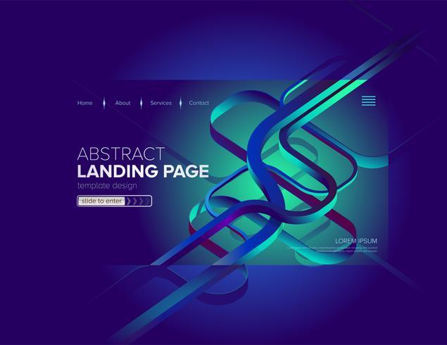 Abstrait bleu dynamique Landing Page Design vecteur