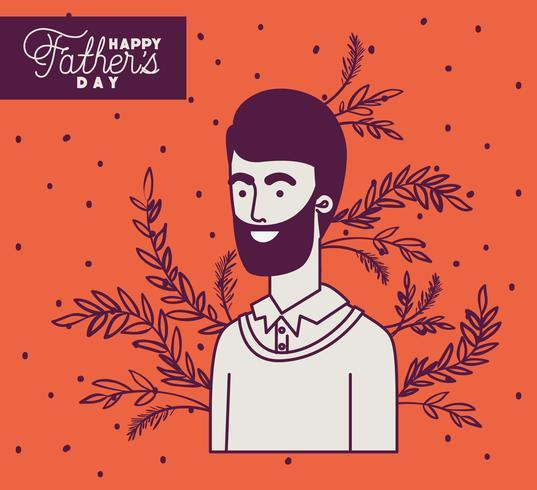 Carte de fête des pères orange heureuse vecteur