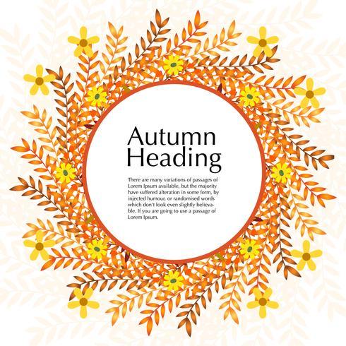 Cadre floral d'automne avec une couleur naturelle orange vecteur