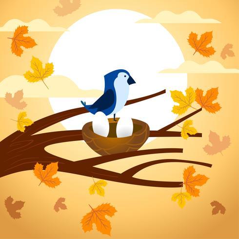 Oiseau avec deux oeufs et coucher de soleil vecteur