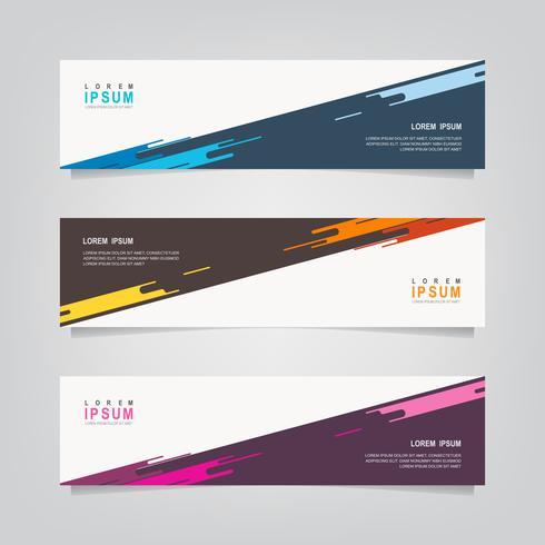 Ensemble de bannières de couleurs diagonales abstraites vecteur