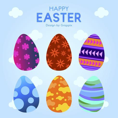 Six oeufs de Pâques avec motif d'ornement coloré vecteur