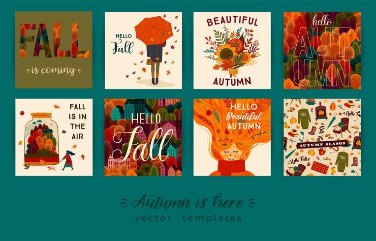 Jeu de cartes d'automne mignonnes vecteur