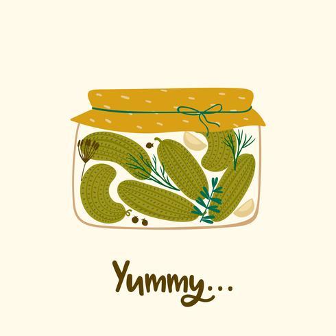 délicieux concombres en conserve. vecteur