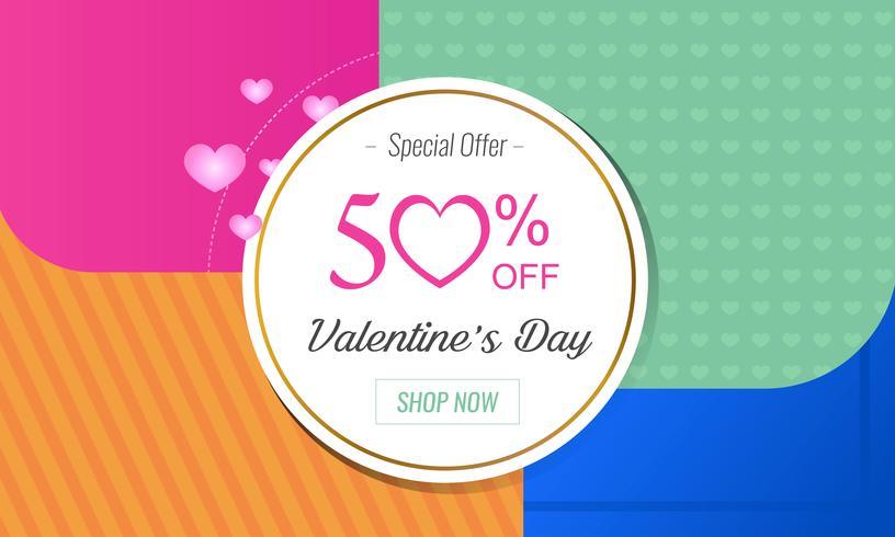 Mise en page de la carte d'offre spéciale Saint Valentin vecteur