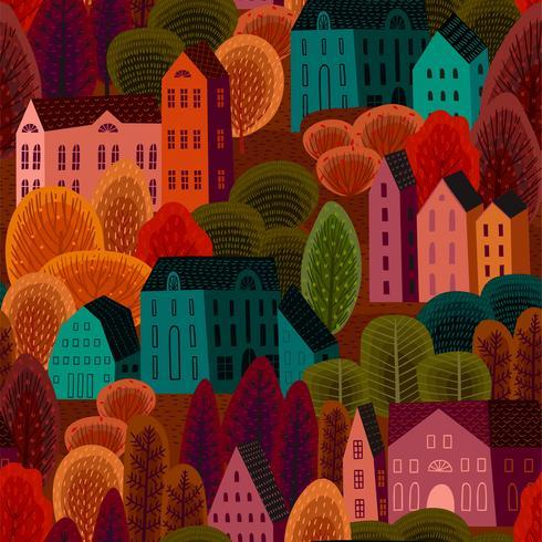 Modèle sans couture avec la ville d'automne vecteur