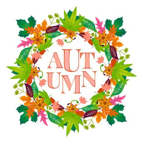 Cadre floral automne avec feuille colorée vecteur
