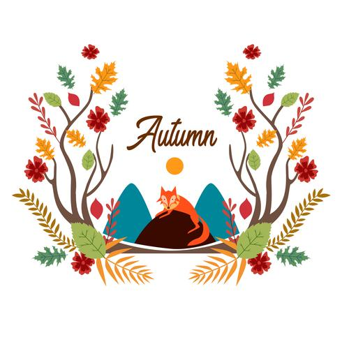 Fox Cartoon avec Autumn Leafs vecteur