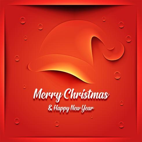 Carte de Noël avec chapeau de père Noël vecteur