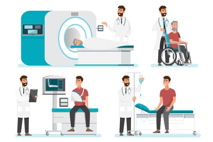 Concept d'équipe médicale dans les examens d'hôpital vecteur