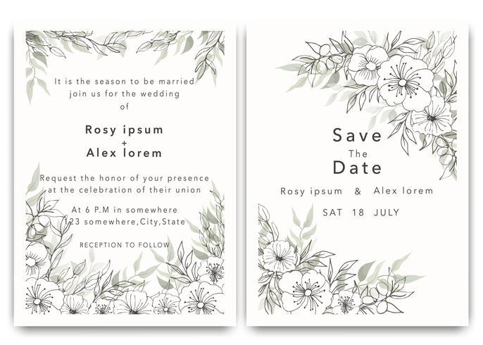Les invitations de mariage sauvent la conception de carte de date avec l'anémone élégante de jardin. vecteur