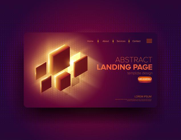 Conception de page d'atterrissage de blocs lumineux abstraits vecteur