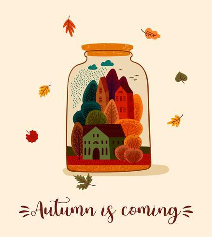 Carte mignonne d'automne vecteur