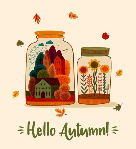 Bonjour les bocaux d'automne vecteur