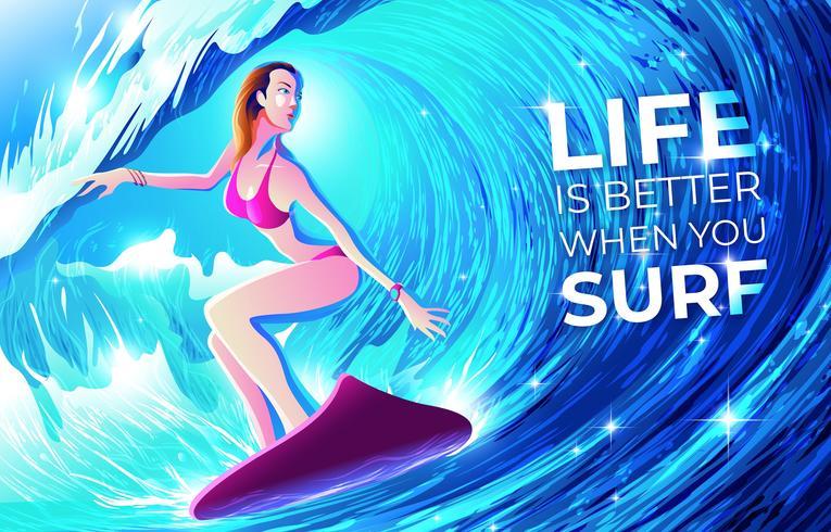 Surfer dans le tunnel vecteur
