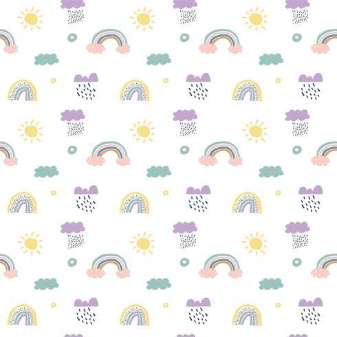 Enfants vectoriels modèle sans couture scandinave nuages, pluie, soleil et arc-en-ciel vecteur
