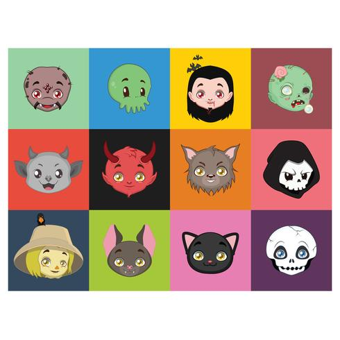 Portraits de personnages d'Halloween sur des arrière-plans colorés vecteur