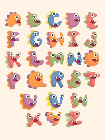 jeu de polices alphabet dinosaure mignon vecteur