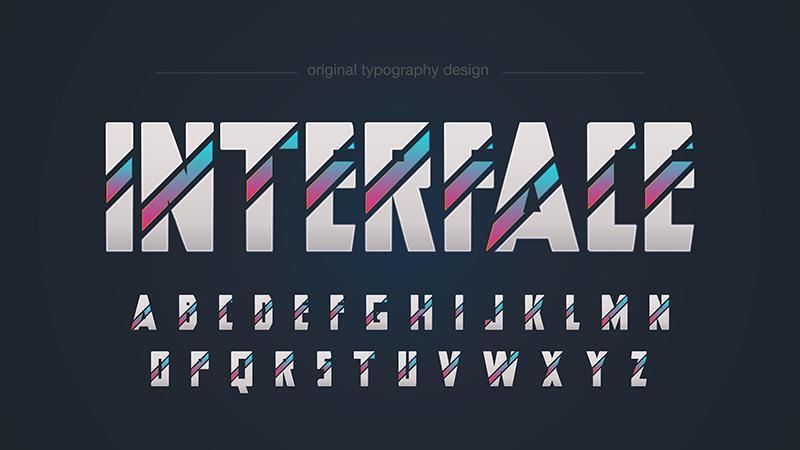 Typographie futuriste géométrique abstraite vecteur