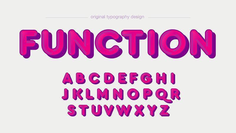 Typographie de dessin animé 3D arrondie rose vecteur