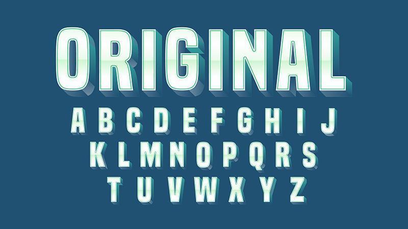 Typographie simple en acier gras, chrome vecteur