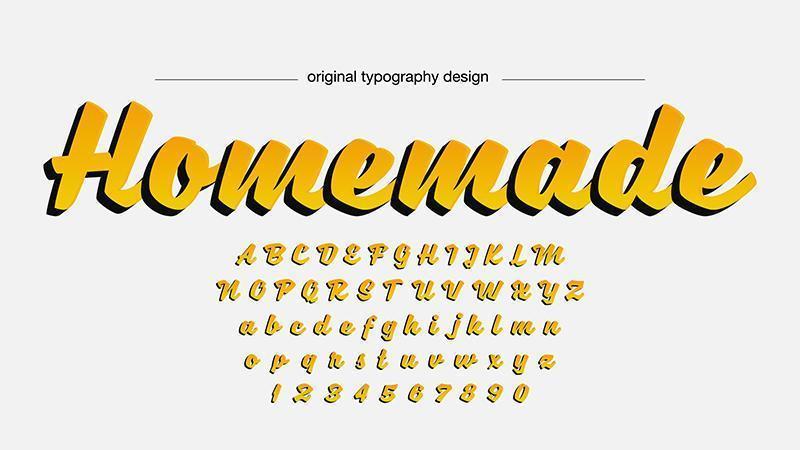 Typographie manuscrite jaune vecteur