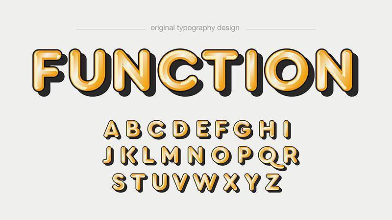 Typographie 3D de dessin animé jaune vecteur
